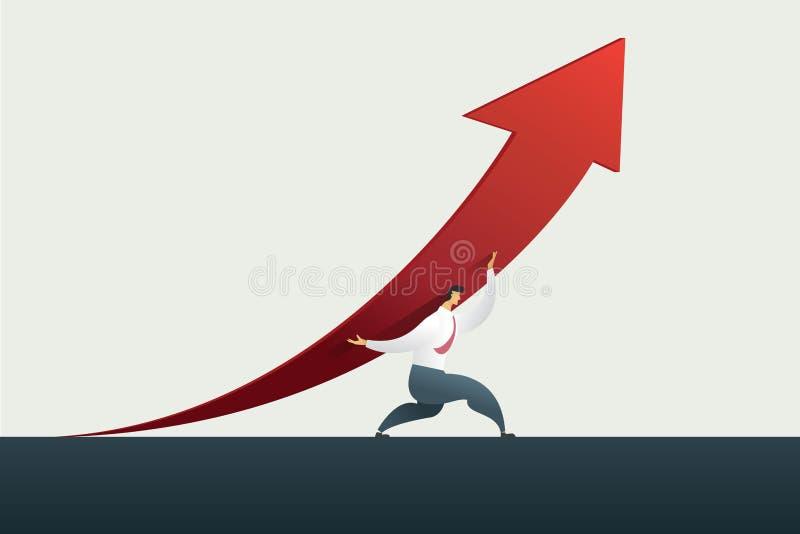 Flecha de la tenencia del líder del hombre de negocios encima de la trayectoria a la meta o blanco en el negocio, éxito vector de libre illustration