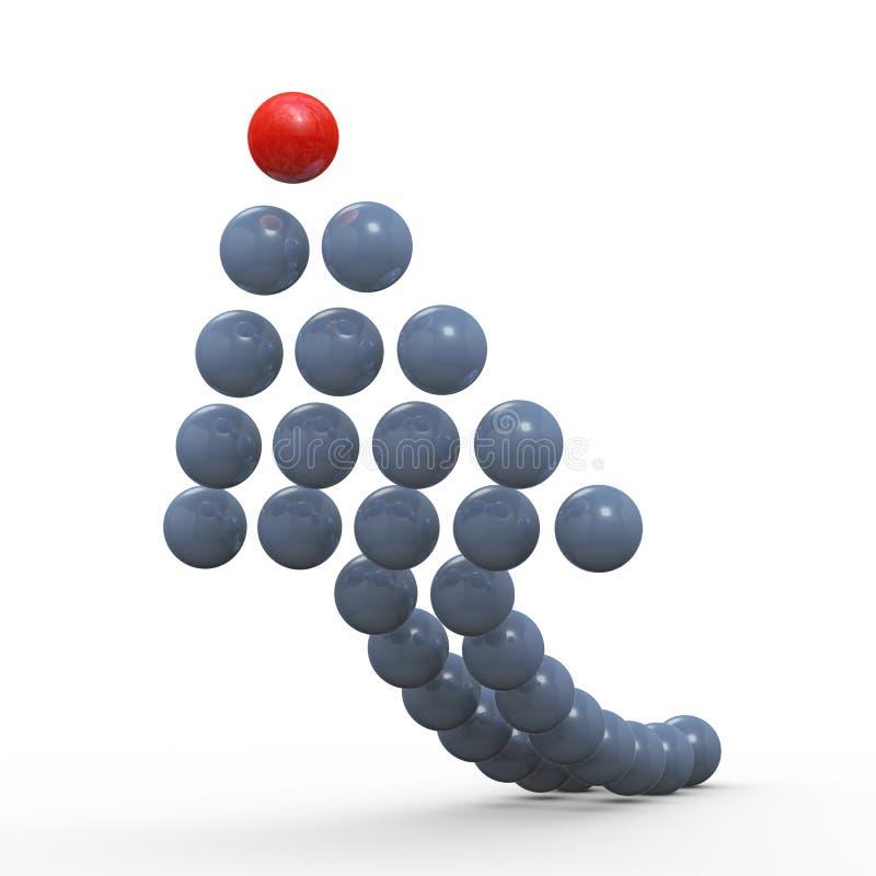 flecha de levantamiento de las bolas 3d ilustración del vector