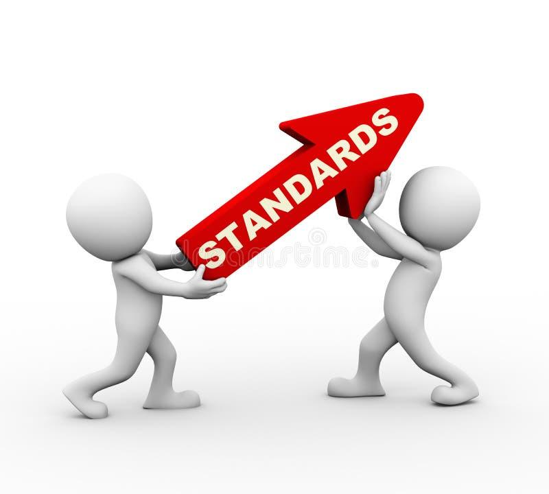 flecha de levantamiento del rojo de los estándares de la gente 3d stock de ilustración