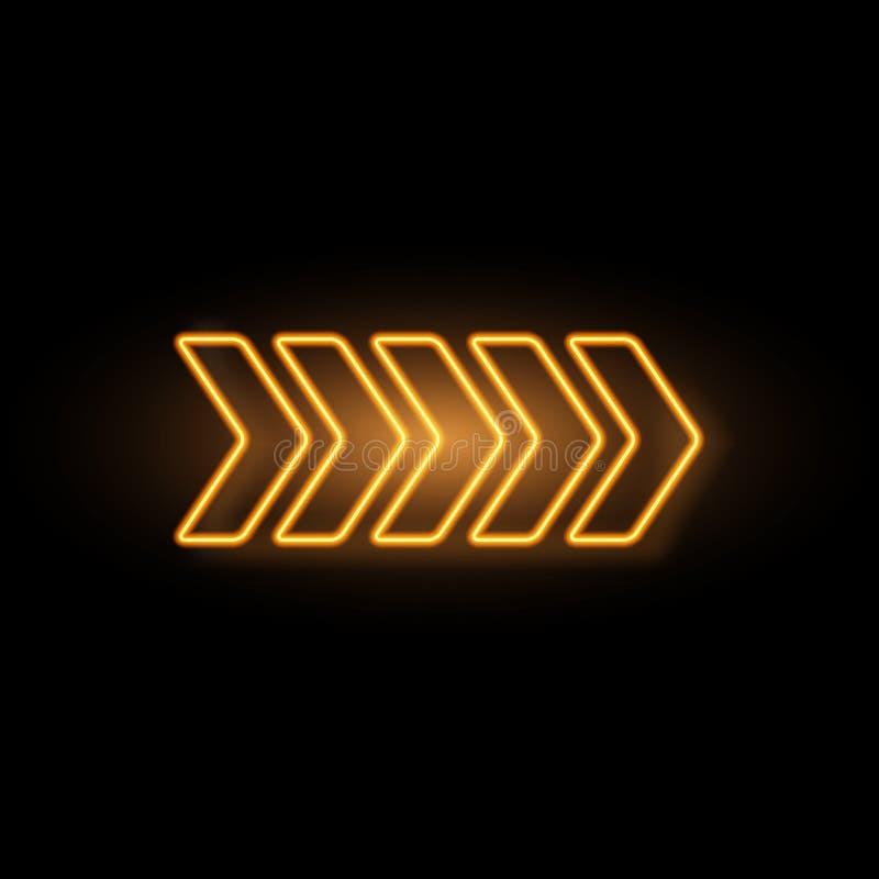Flecha de neón amarilla con efecto que brilla intensamente stock de ilustración