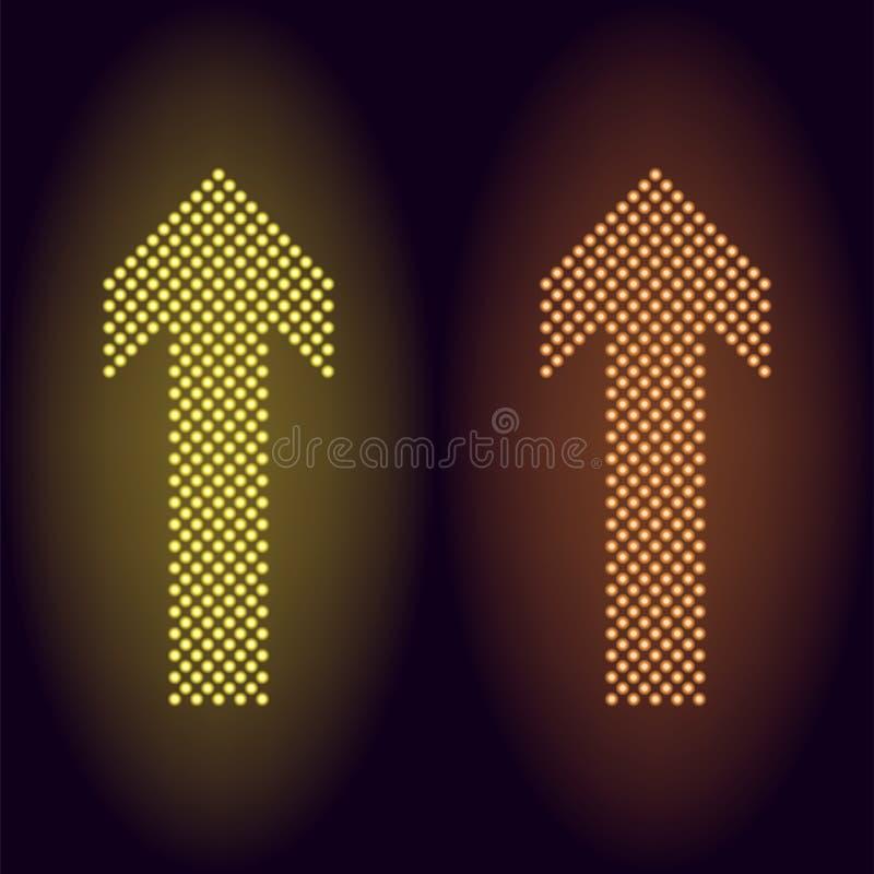 Flecha de neón amarilla y anaranjada del punto libre illustration