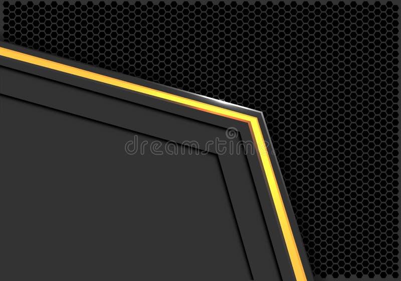 Flecha de neón de la luz ámbar del extracto en espacio en blanco gris con vector futurista moderno del fondo del hexágono del  ilustración del vector
