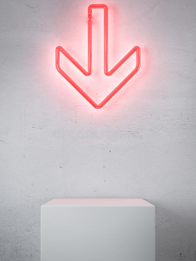 Flecha de neón roja en interior libre illustration