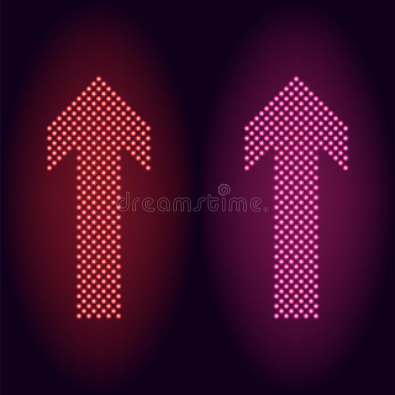 Flecha de neón roja y rosada del punto libre illustration