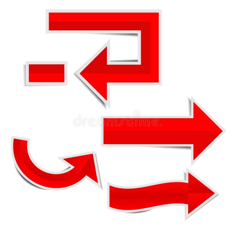 Flecha de papel roja al lado con de la etiqueta engomada de la sombra ilustración del vector