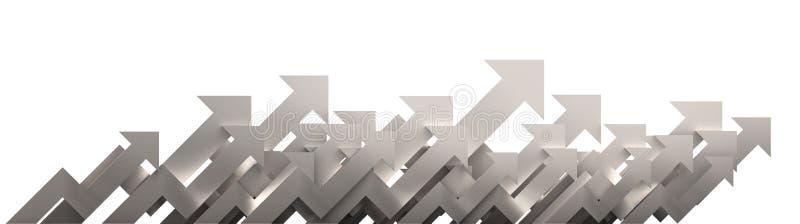 Flecha de plata Concepto cada vez mayor del fondo del negocio representación 3d foto de archivo libre de regalías