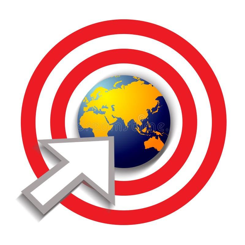 Flecha del éxito en el centro de una diana del mundo ilustración del vector