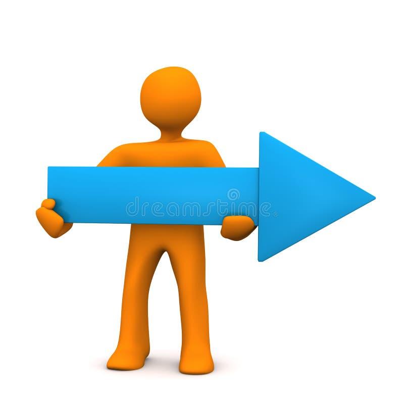 Flecha del azul del maniquí ilustración del vector