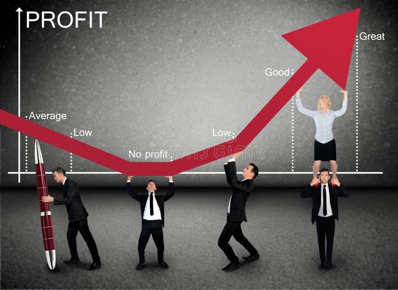 Flecha del beneficio del empuje del equipo del negocio para arriba stock de ilustración
