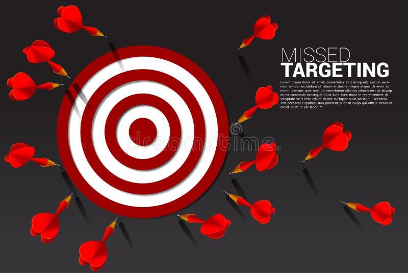 Flecha del dardo golpeada fuera de la diana Concepto del negocio de faltar la blanco y al cliente de comercialización libre illustration