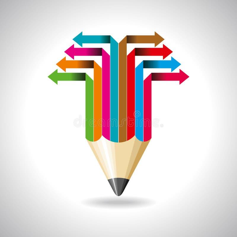 Flecha del negocio global con el lápiz stock de ilustración