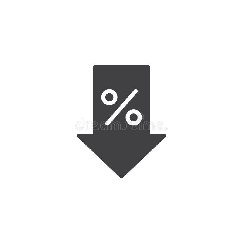 Flecha del porcentaje abajo del icono del vector ilustración del vector