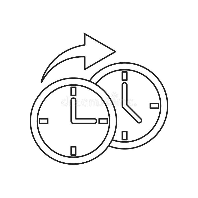 Flecha del tiempo de reloj alrededor de la línea fina ilustración del vector