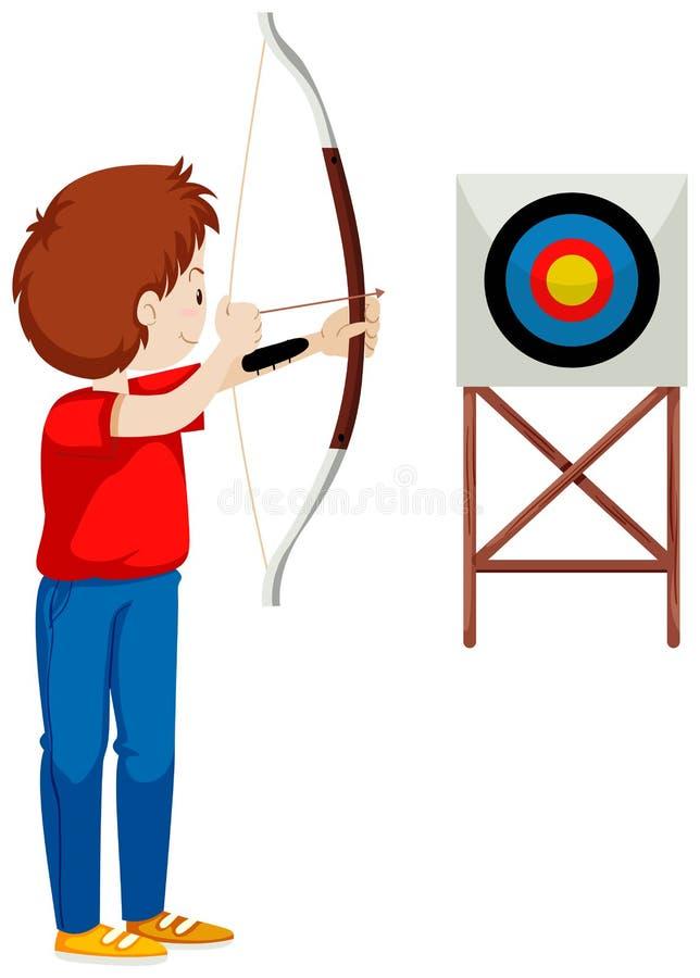 Flecha del tiroteo del hombre en la blanco libre illustration