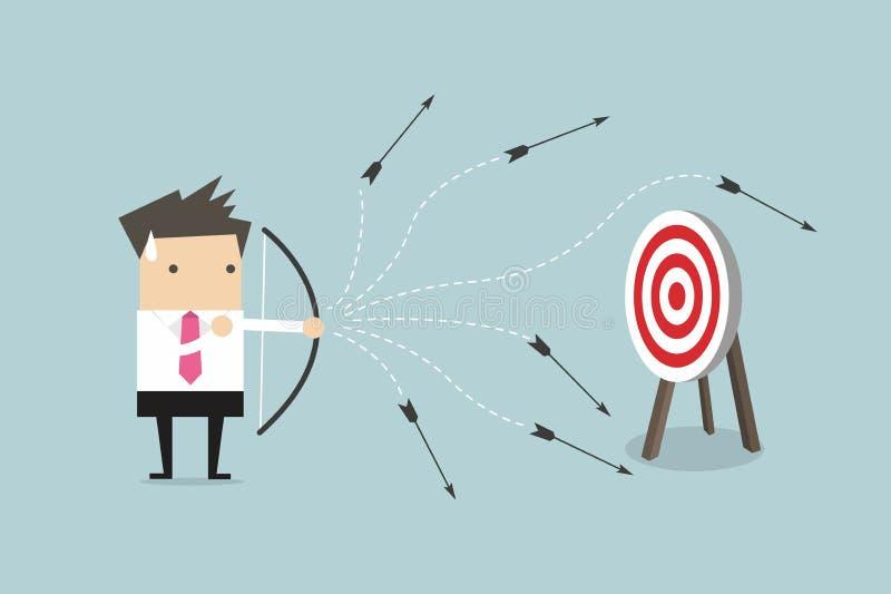 Flecha del tiroteo del perdedor del hombre de negocios stock de ilustración