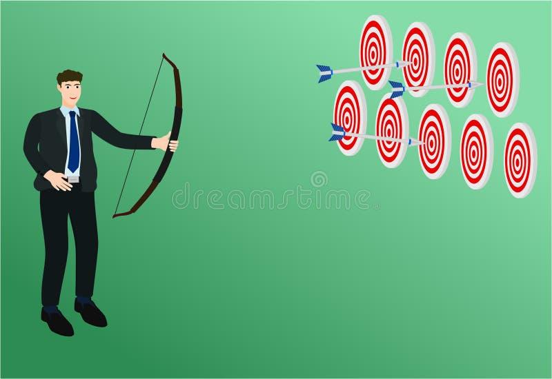 Flecha del tiroteo tres del hombre de negocios de objetivos múltiples ilustración del vector