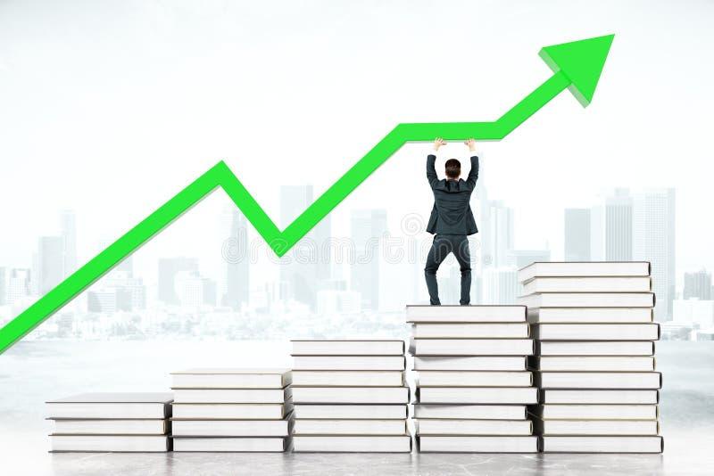 Flecha del verde del concepto de la educación stock de ilustración