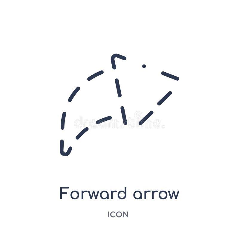 flecha delantera con el icono quebrado de la colección del esquema de la interfaz de usuario Línea fina flecha delantera con el i libre illustration