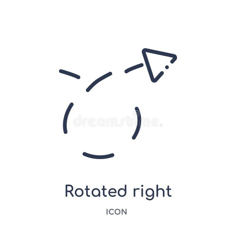 flecha derecha girada con el icono quebrado de la colección del esquema de la interfaz de usuario Línea fina flecha derecha girad libre illustration