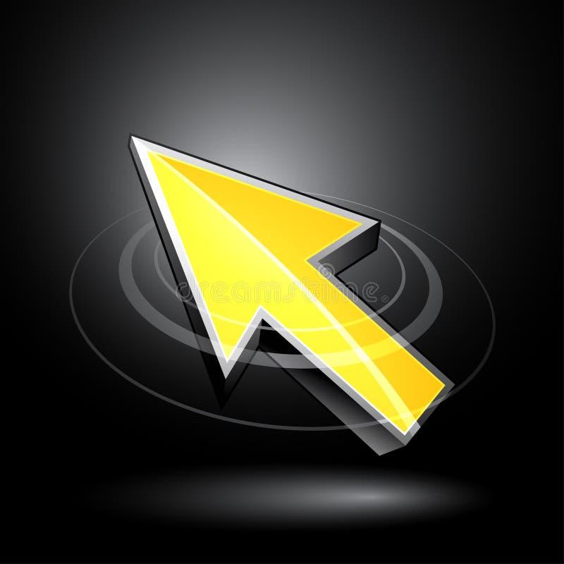 Flecha direccional amarilla ilustración del vector