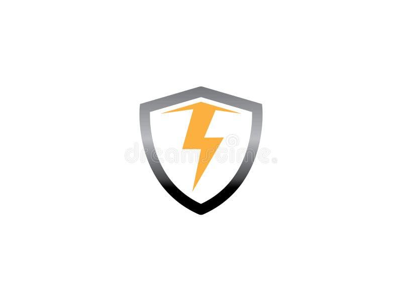 Flecha eléctrica dentro del escudo para el diseño del logotipo, ejemplo del icono de la seguridad stock de ilustración