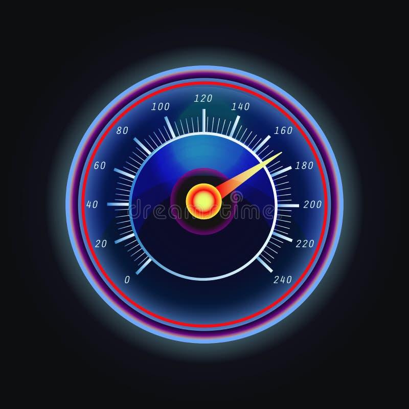 Flecha en el indicador o el velocímetro measuing ilustración del vector