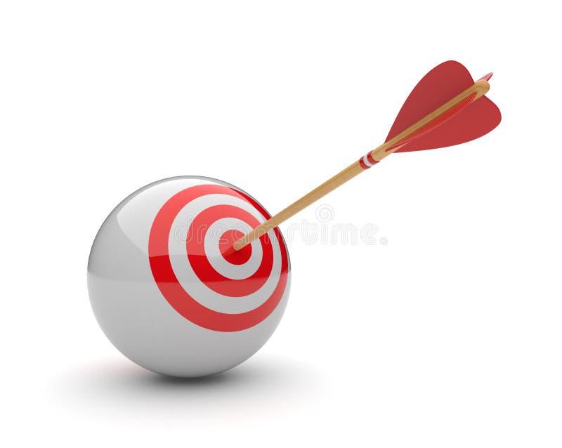 Flecha en la blanco 3D de la esfera. Golpe del éxito stock de ilustración