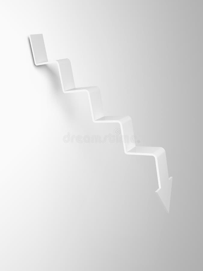 Flecha en la forma de la escalera que va abajo, 3d ilustración del vector