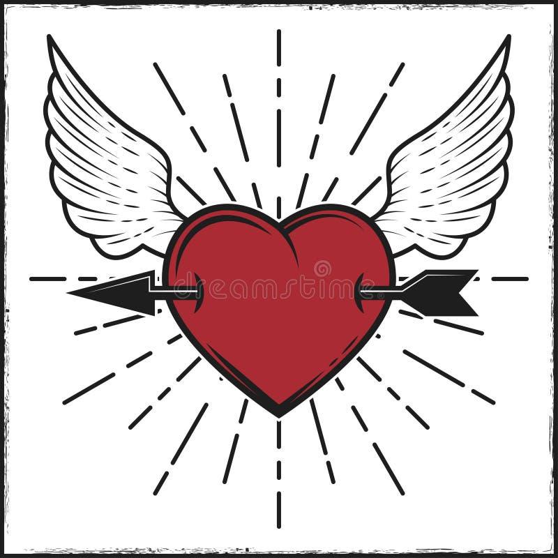 Flecha en la impresión coloreada del corazón y de las alas con los rayos Ejemplo del vector en estilo del vintage stock de ilustración