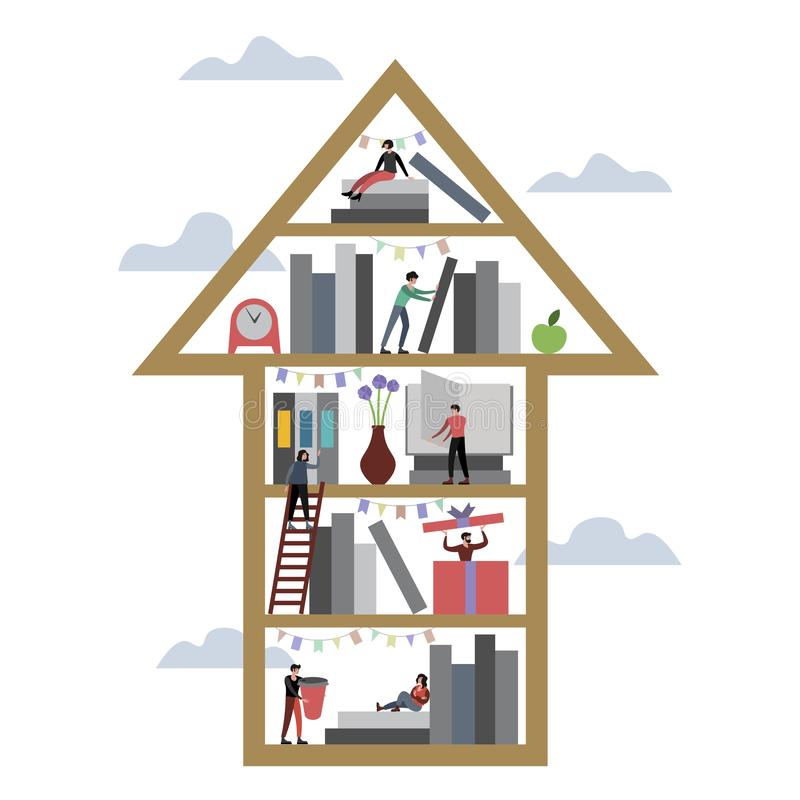 Flecha encima del ejemplo del vector de la biblioteca del estante de librería libre illustration