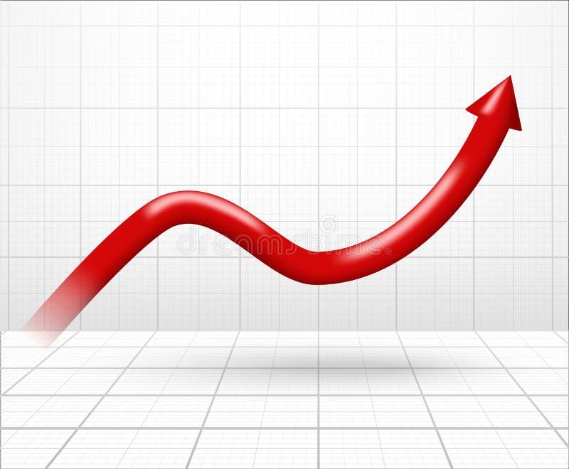 Flecha encima del gráfico dimensional ilustración del vector