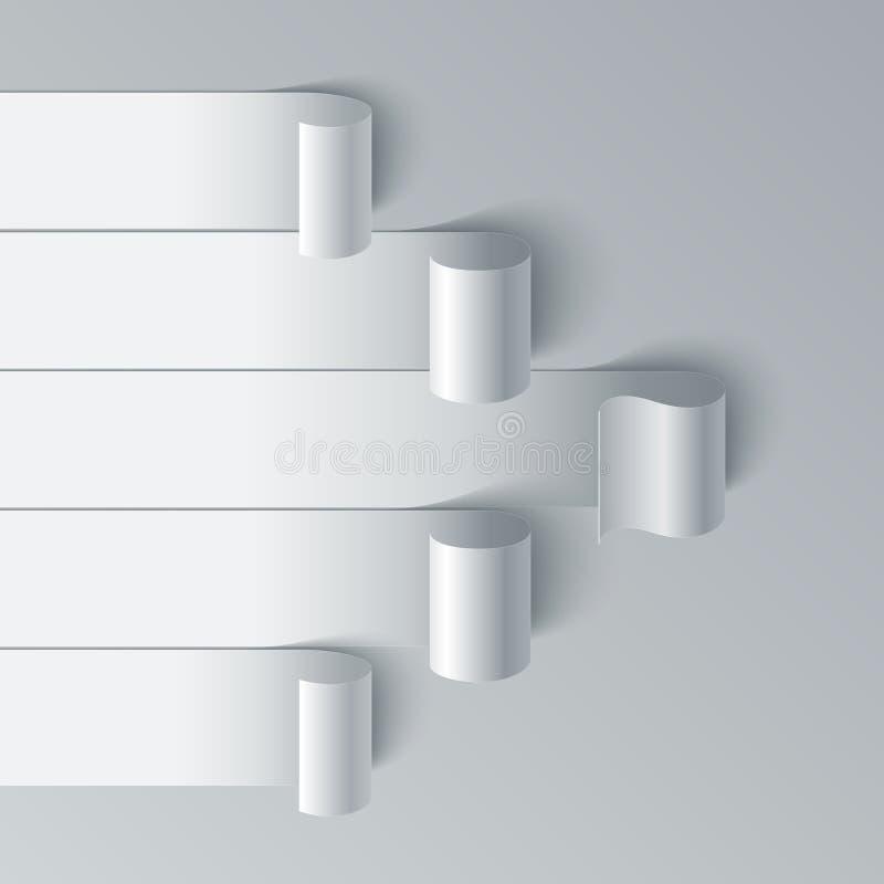Flecha encrespada de las banderas de la raya del papel en blanco en blanco libre illustration