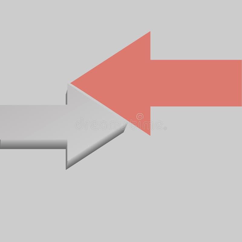 Flecha gris ?nica contra corral otra direcci?n en fondo gris Concepto de la tendencia, de la creatividad y de la competencia libre illustration