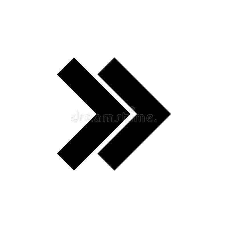 flecha, la derecha, doble, icono del rebobinado Elemento del icono de la dirección Muestras e icono para las páginas web, diseño  ilustración del vector