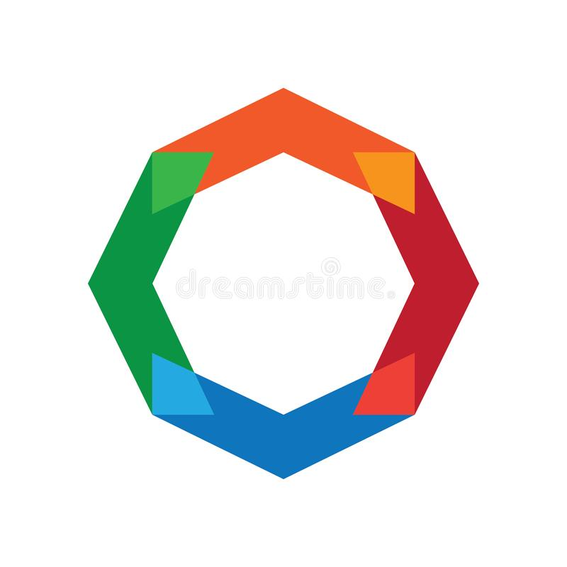 Flecha Logo Vector colorido del hexágono stock de ilustración