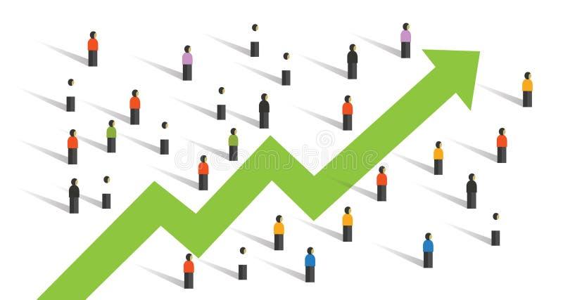 Flecha para arriba alrededor de la inversión de la economía del aumento de la carta de negocio de la muchedumbre de la gente junt stock de ilustración