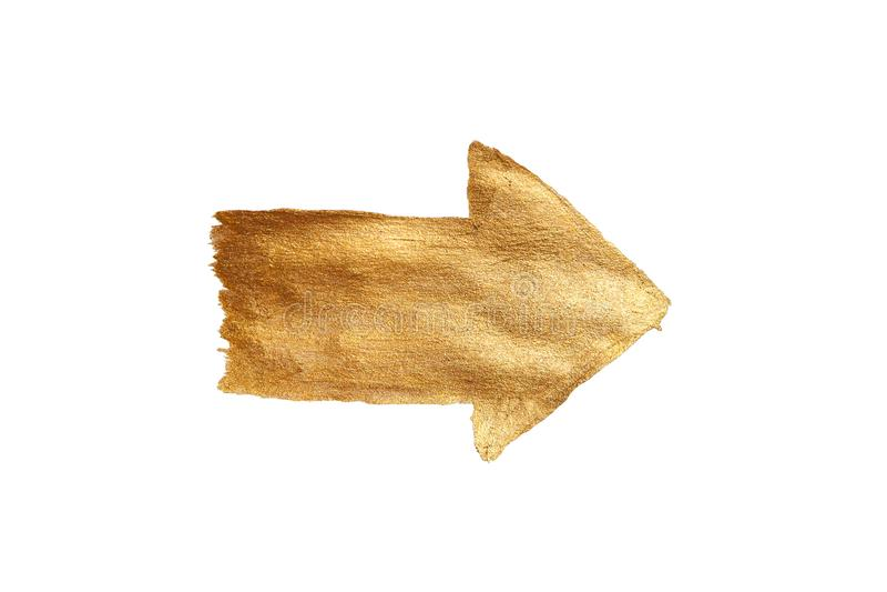 Flecha pintada de oro del Watercolour aislada en el fondo blanco ilustración del vector