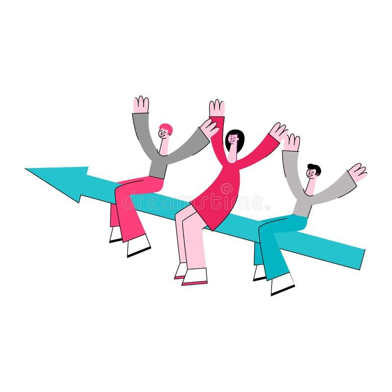 Flecha plana del vuelo de la mujer del hombre de negocios del vector ilustración del vector