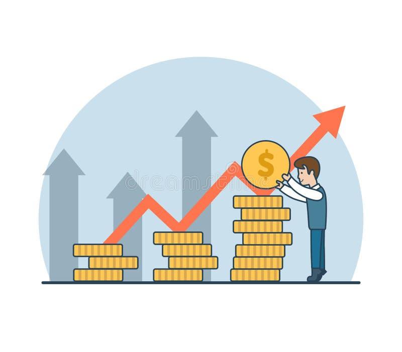 Flecha plana linear de la moneda encima del illu del negocio del vector del hombre ilustración del vector
