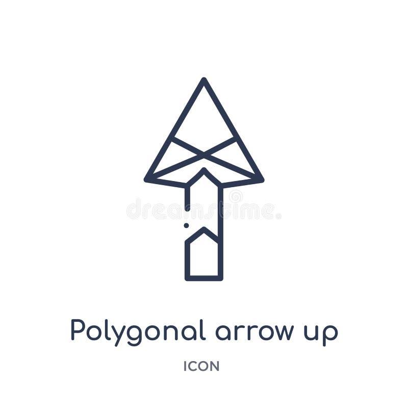 Flecha poligonal linear encima del icono de la colección del esquema de la geometría Línea fina flecha poligonal encima del icono libre illustration