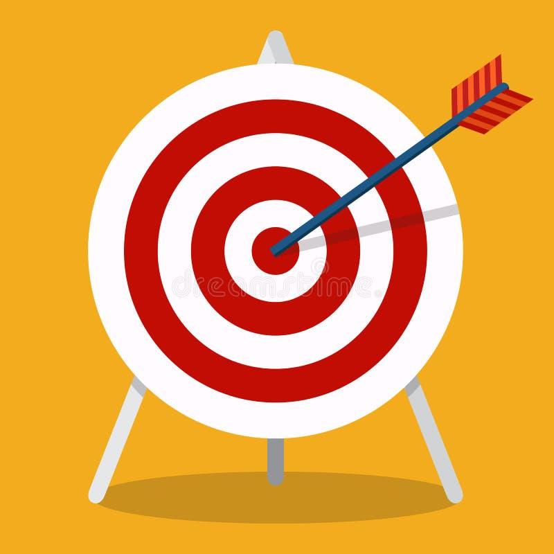 Flecha que golpea una blanco Concepto del asunto Icono aislado en backgr stock de ilustración