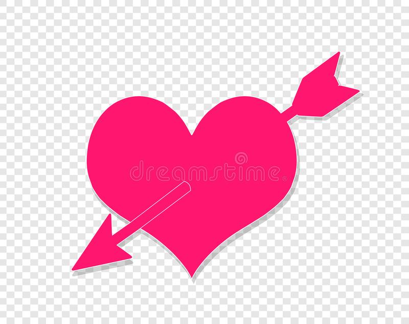 Flecha que pasa a través de corazón Amor Rose roja stock de ilustración