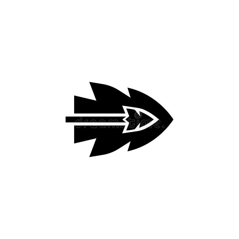 Flecha que vuela el icono plano del vector stock de ilustración