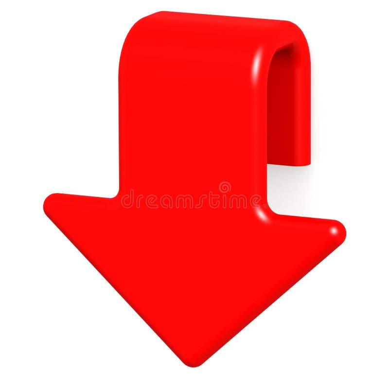 Flecha roja abajo stock de ilustración. Ilustración de caída ...