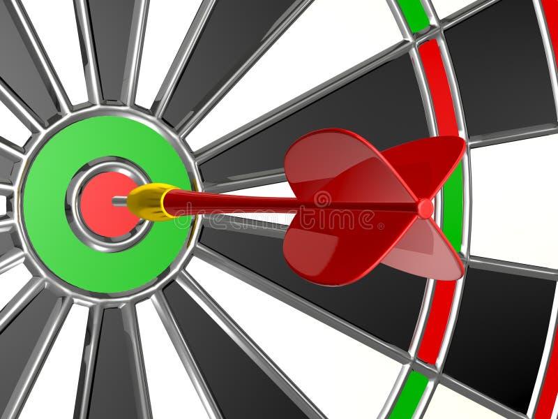 Flecha roja con el tablero de dardo ilustración del vector