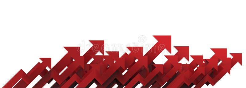 Flecha roja Concepto cada vez mayor del fondo del negocio representación 3d fotografía de archivo