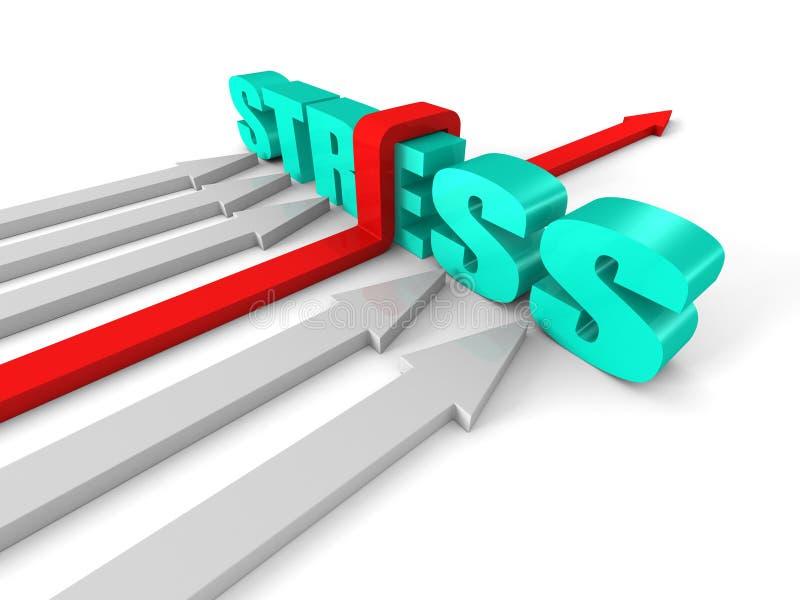 Flecha roja del éxito que supera la barrera de la palabra de la TENSIÓN ilustración del vector
