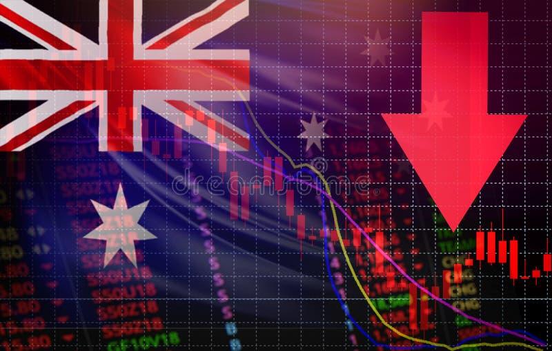 Flecha roja del precio de la crisis de la acción del mercado de Australia abajo de divisas del estudio de mercado de la bolsa de  stock de ilustración