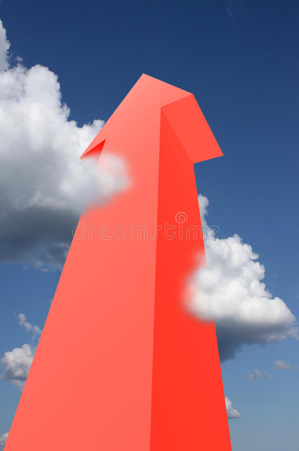 Flecha roja que alcanza las nubes fotografía de archivo libre de regalías