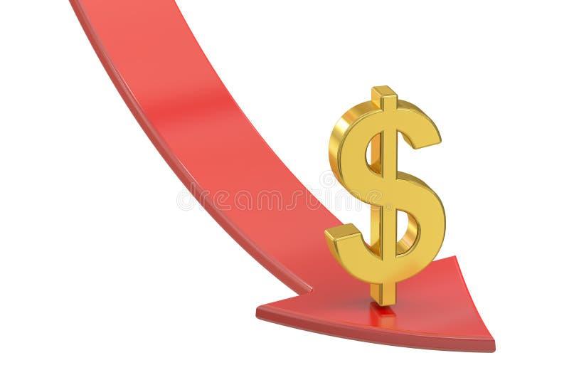 Flecha roja que cae con el símbolo del dólar, concepto de la crisis 3d arrancan libre illustration
